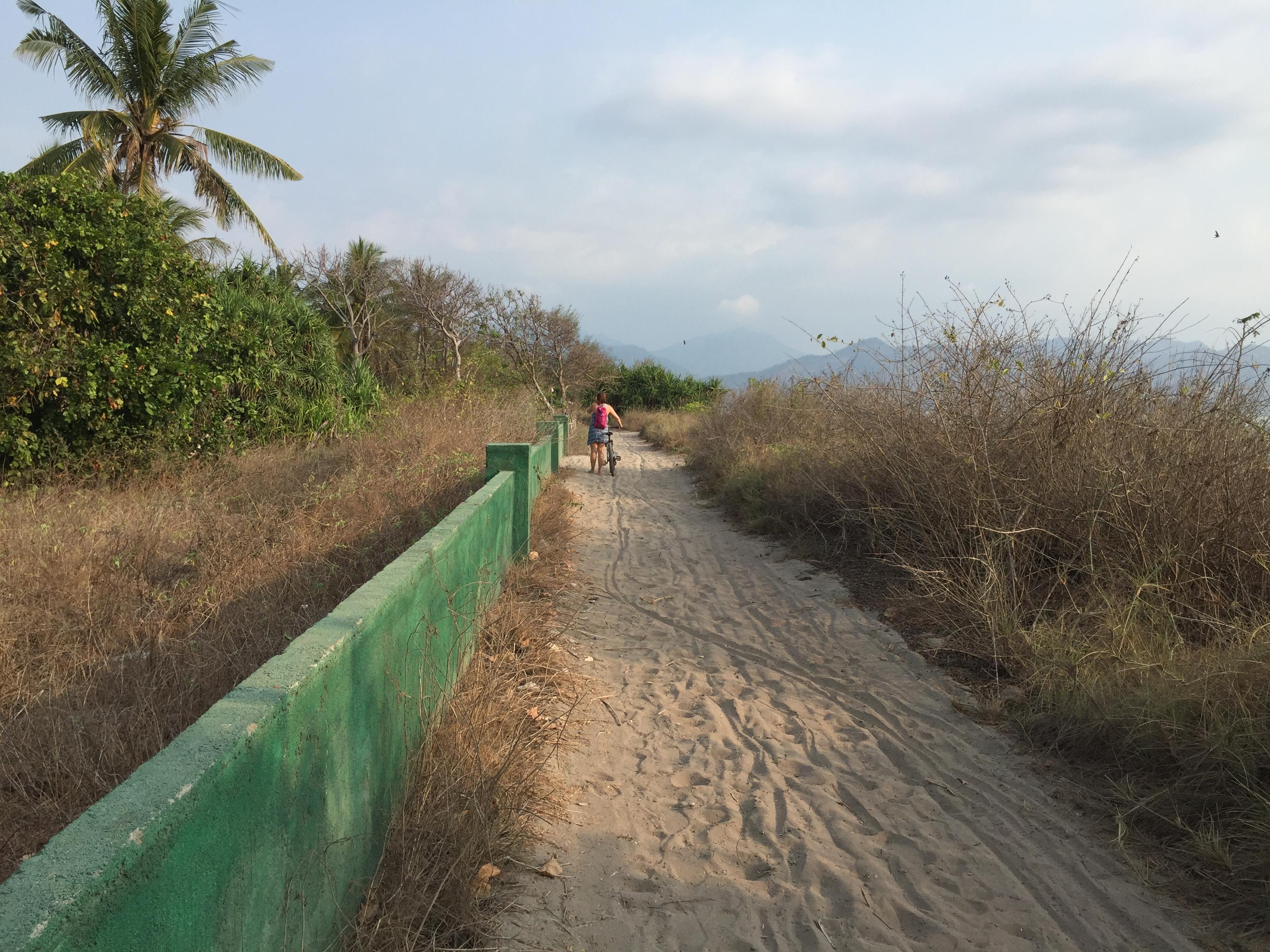 Fahrrad schieben auf sandigen Küstenstraßen.