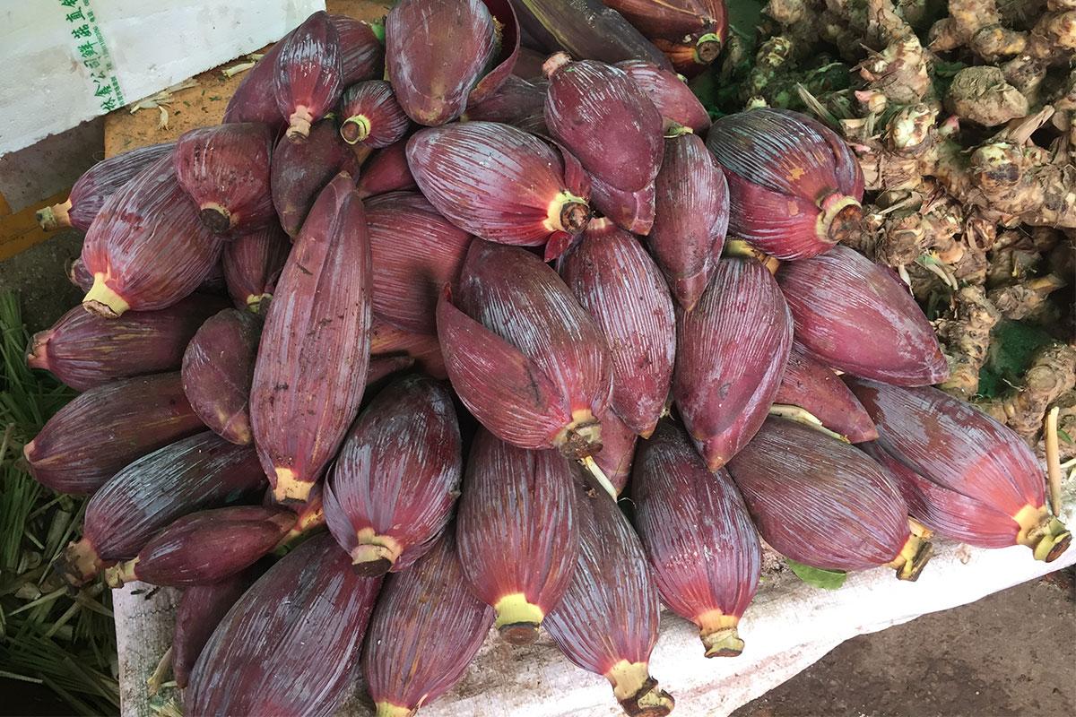 Das sind Bananenblüten.