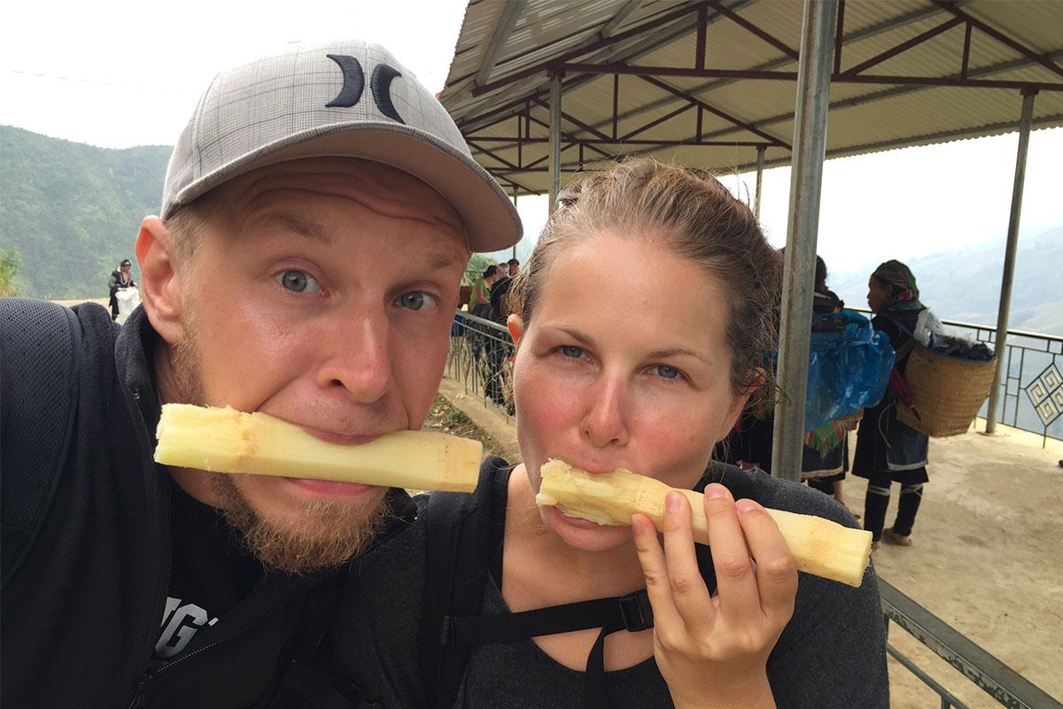 Ein beliebter Trekking-Snack in Sapa: Zuckerrohr