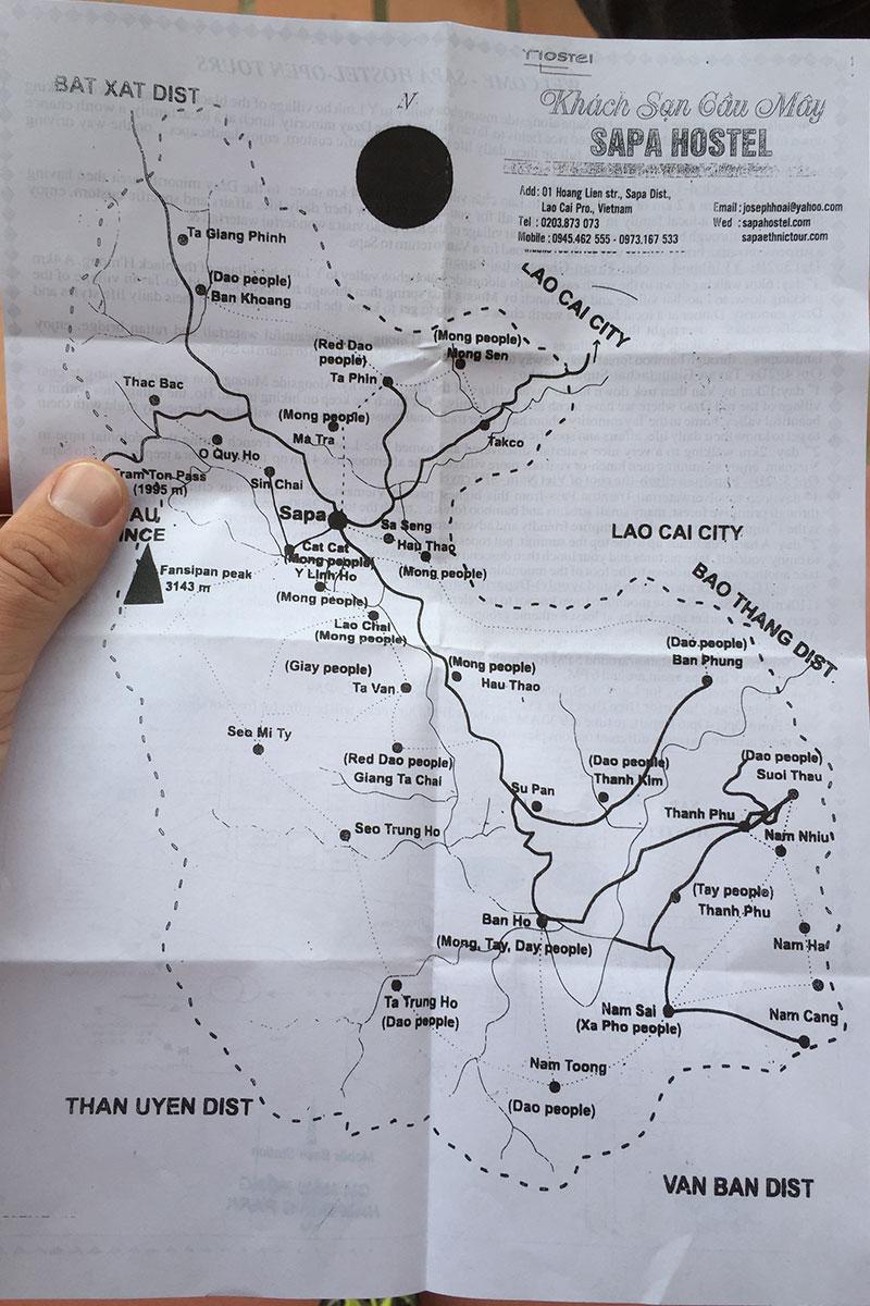 Karte von unserem Trekking-Trip durch Sapa.