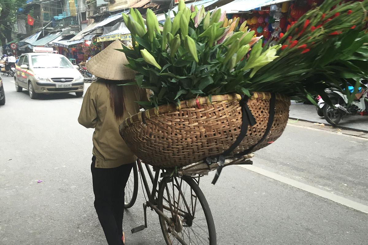 Blumenverkäuferin auf den Strassen von Hanoi.