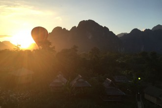 Abendsonne-Heissluftballon-Vang-Vieng-Laos