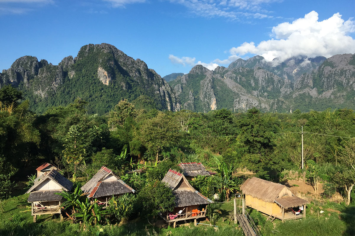 Unser Ausblick vom Champa Lao in Vang Vieng.