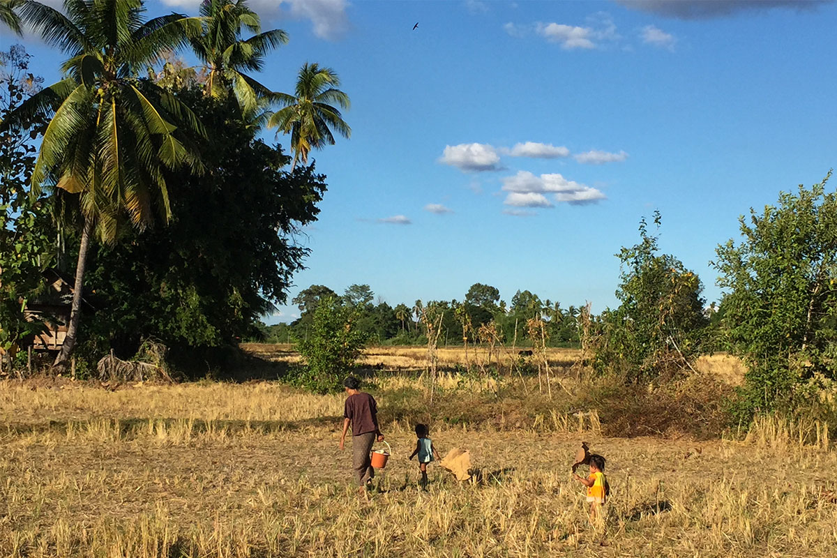 Oma-mit-Kindern-im-Feld-Laos-Viertausend-Inseln