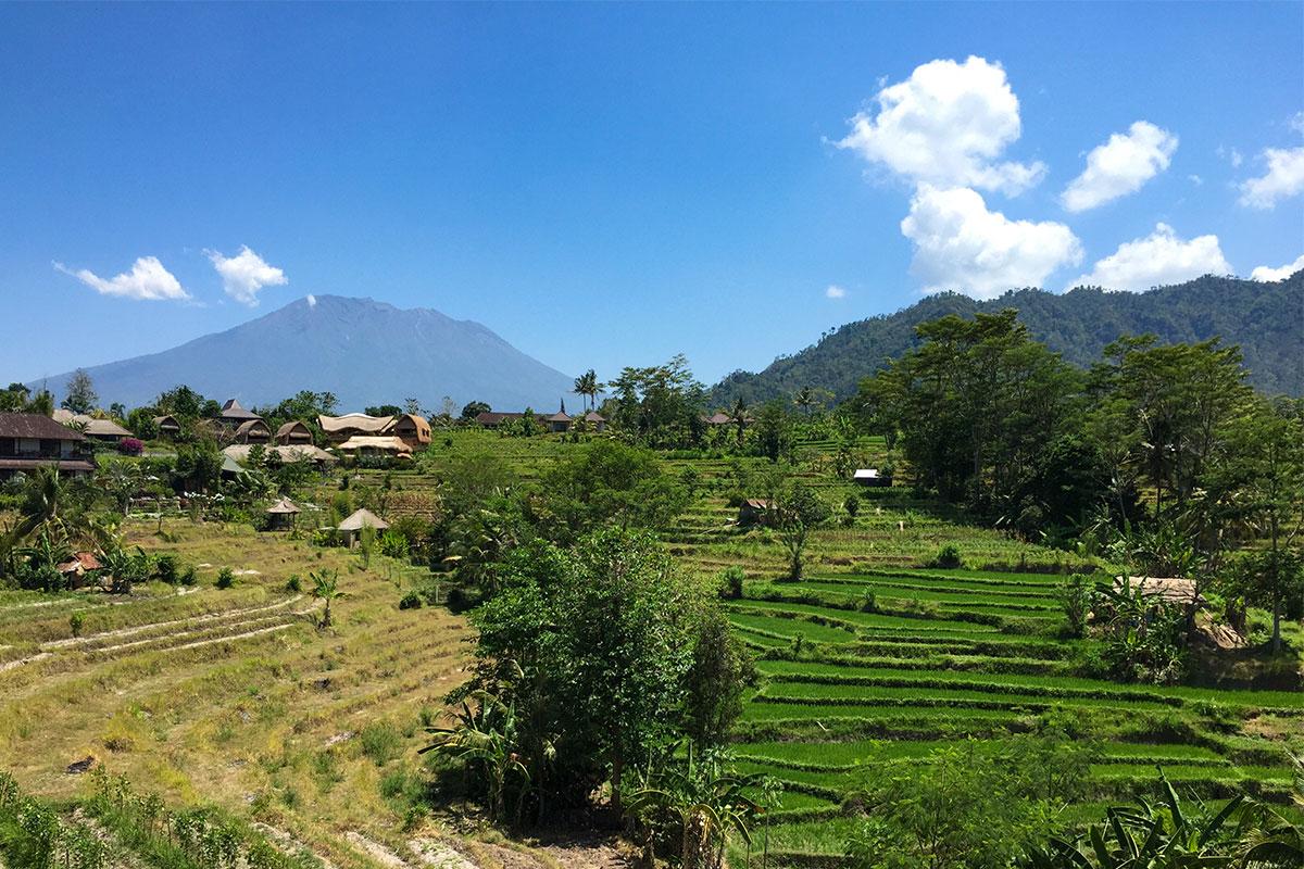 Ausblick auf den Mount Agung von unserem Balkon aus!