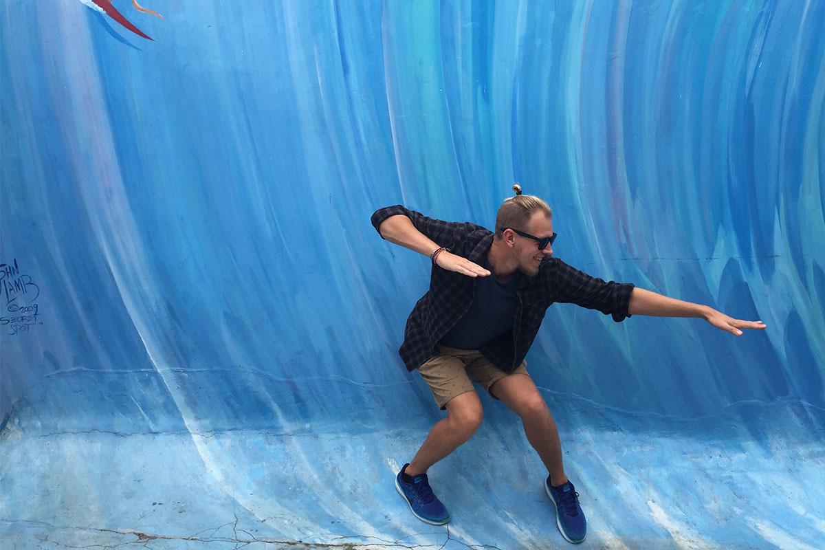 Es gibt einen Secret Spot im Hinterhof des Surf-Museums in Oceansiede.
